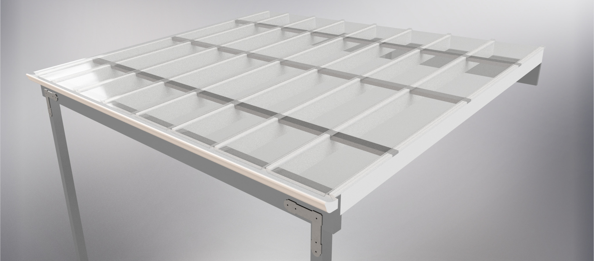 Custom Glaze polycarbonate top view rafters purlins
