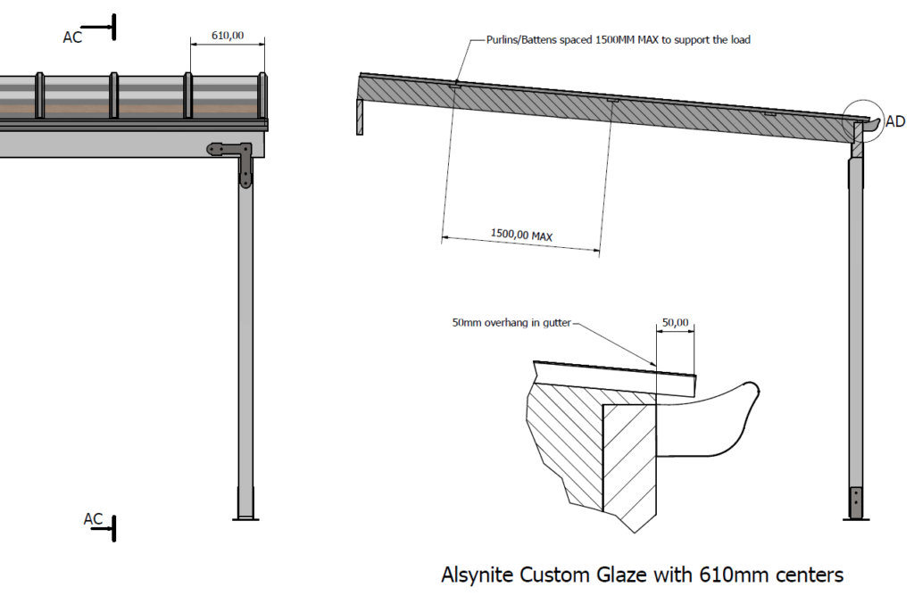 Custom Glaze rafter purlin gutter spacing diagram