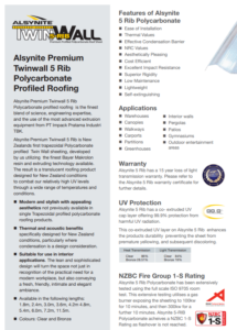 alsynite roofing, twinwall 5 rib roofing