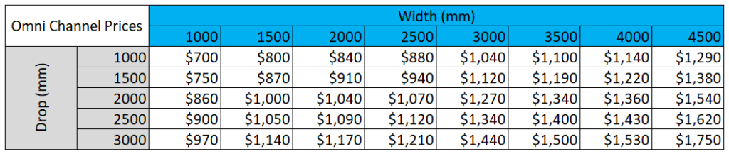 Omni Screen Channel prices for patio blinds from Sunnyside
