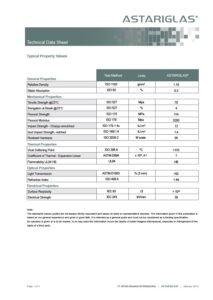 Astariglas icon technical data sheet