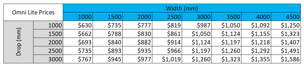 Omni Screen Lite prices for outdoor blinds from Sunnyside