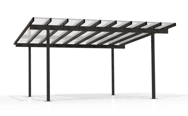 Kitset gazebo with aluminium bars and glazing panels